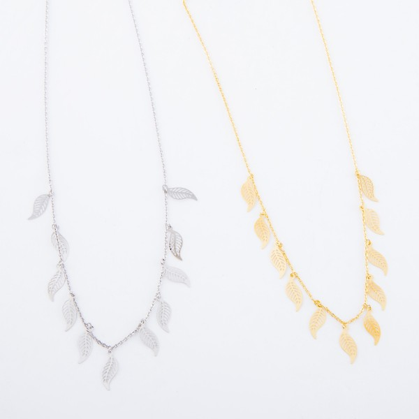 "White Gold Dipped Filigree Feather Drip Necklace.  - Approximately 15"" L - 2"" Adjustable Extender"