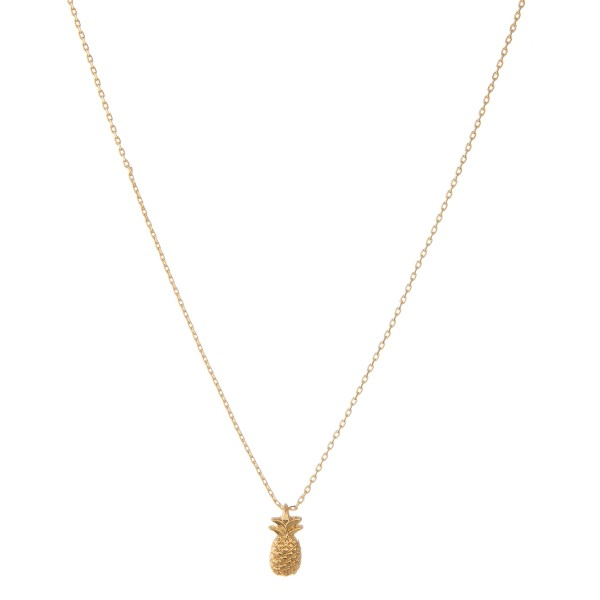 """Gold dipped pineapple collar necklace.  - Pendant approximately 1cm  - Approximately 14"""" in length with 1"""" extender"""