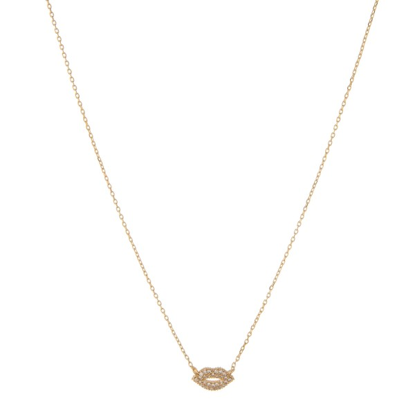"Gold dipped cubic zirconia kiss pendant necklace.  - Pendant approximately 1cm  - Approximately 15"" in length with 2"" extender"