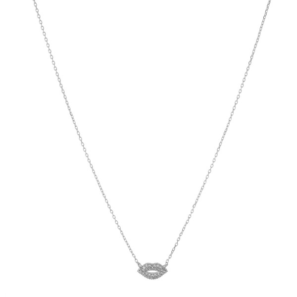 "White Gold dipped cubic zirconia kiss pendant necklace.  - Pendant approximately 1cm  - Approximately 15"" in length with 2"" extender"