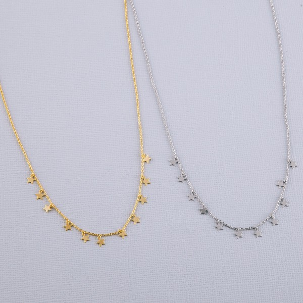 """Dainty White Gold dipped star dangle necklace.  - Approximately 15"""" in length with 2"""" extender"""