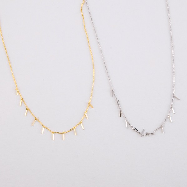 """Dainty White Gold dipped bar dangle necklace.  - Approximately 15"""" in length with 2"""" extender"""