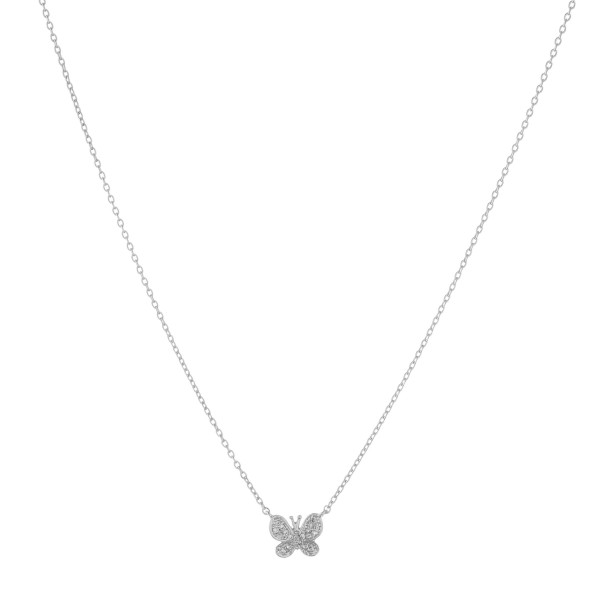 """Dainty White Gold dipped cubic zirconia butterfly pendant necklace.  - Cubic Zirconia  - Pendant approximately 1cm in size - Approximately 16"""" in length with 2"""" extender"""