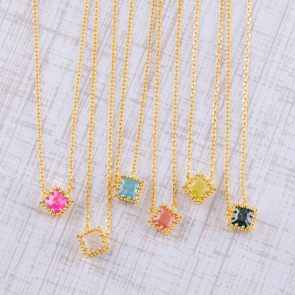 """Gold dipped cubic zirconia pendant necklace.  - Cubic Zirconia - Pendant approximately 5mm - Approximately 16"""" in length with 2"""" extender"""