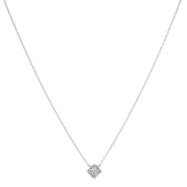 "White Gold dipped cubic zirconia pendant necklace.  - Cubic Zirconia - Pendant approximately 5mm - Approximately 16"" in length with 2"" extender"