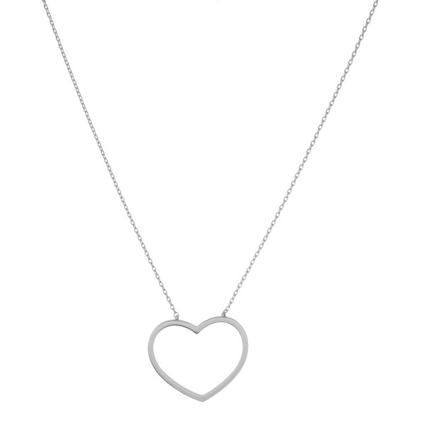 """White Gold dipped open heart collar necklace.  - Pendant approximately 1""""  - Approximately 14"""" in length with 1"""" extender"""