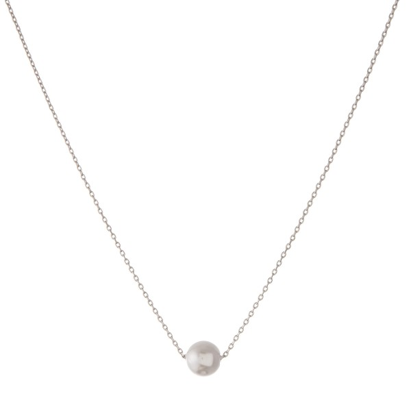 "White Gold dipped pearl collar necklace.  - Pearl size approximately 7.5mm - Approximately 14"" in length with 1"" extender"