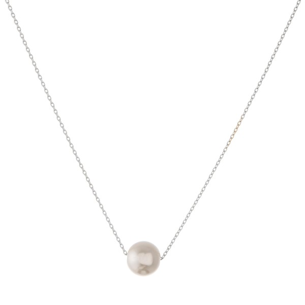"White Gold dipped pearl collar necklace.  - Pearl size approximately 10mm - Approximately 14"" in length with 1"" extender"