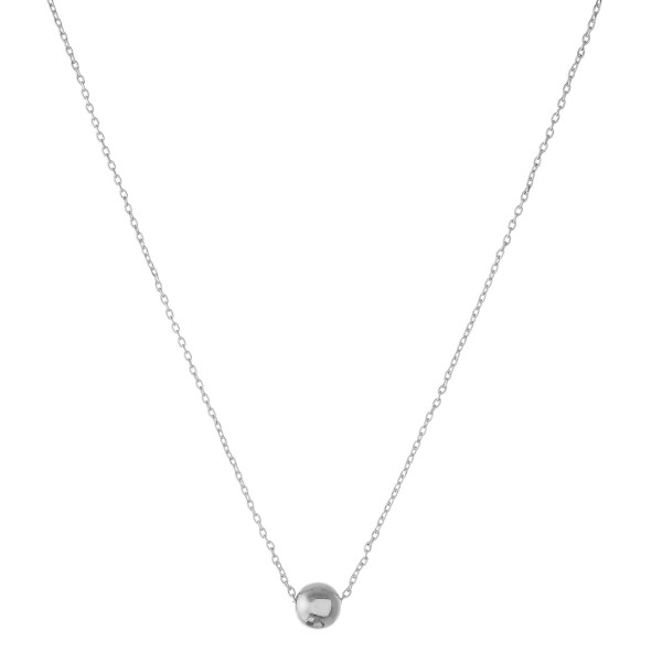 """White Gold dipped ball bead collar necklace.  - Bead size approximately 5.5mm - Approximately 14"""" in length with 1"""" extender"""
