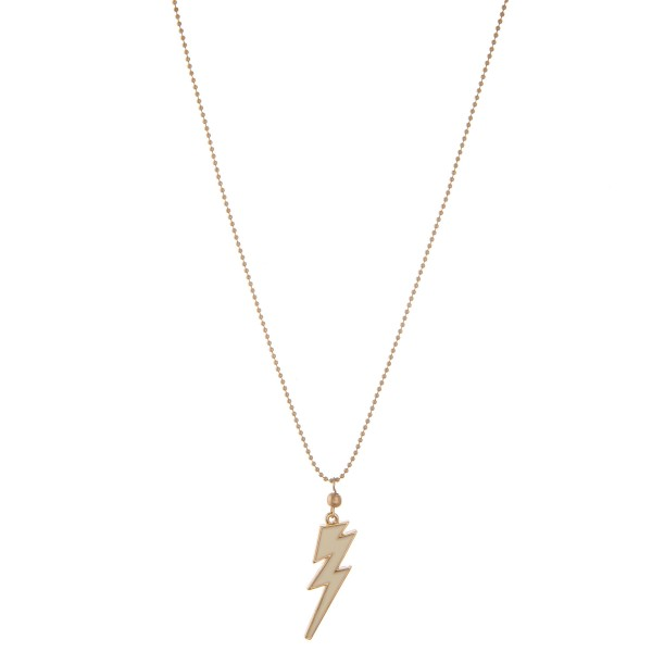 "Shiny enamel coated lightning bolt pendant necklace.  - Pendant approximately 1""  - Approximately 20"" L  - 3"" extender"