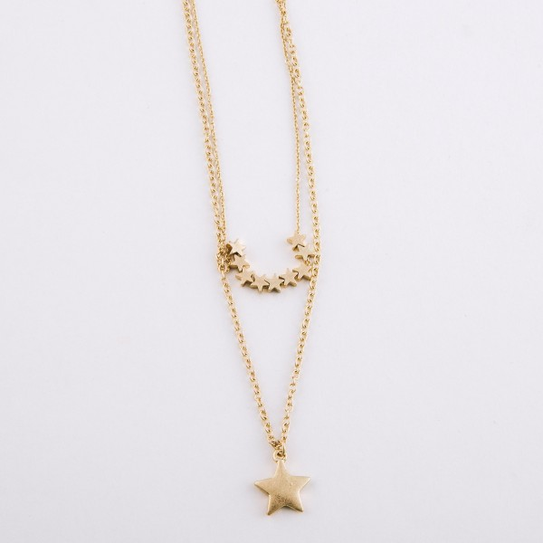 """Layered star necklace.  - Approximately 18"""" L with 3"""" extender"""