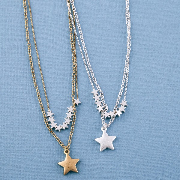 """Two tone layered star beaded necklace.  - Approximately 18"""" L - 3"""" extender"""