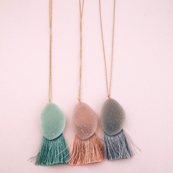 "Long glittery resin fringe tassel pendant necklace.  - Pendant approximately 3.5""  - Approximately 36"" L overall  - 3"" extender"