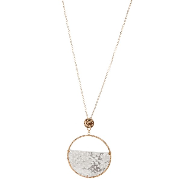 """Long Gold half faux leather snakeskin disc pendant necklace with metallic accents.  - Pendant approximately 2.5"""" L - 2"""" in diameter - Approximately 32"""" L  - 3"""" extender"""