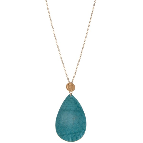 """Long Worn Gold Genuine Leather animal print teardrop pendant necklace.  - Pendant approximately 3""""  - Approximately 32"""" L  - 3"""" extender"""