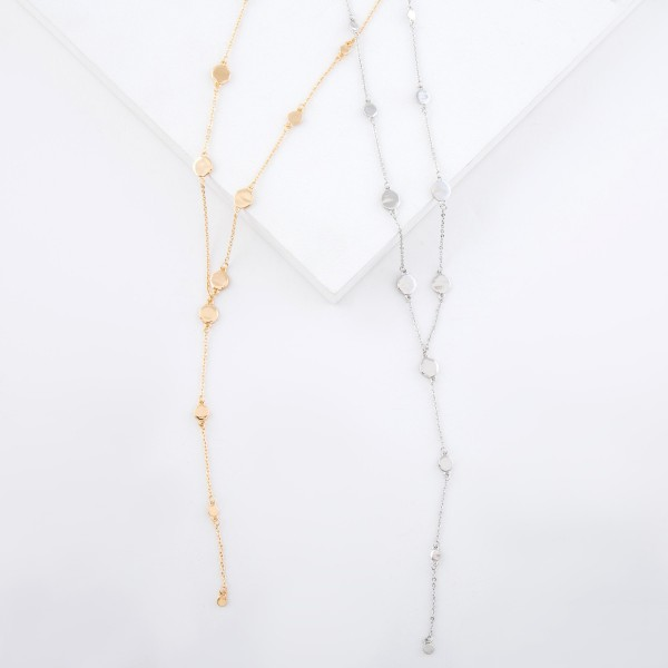 """Disc Y necklace.  - Approximately 26"""" L  - 2.5"""" extender"""