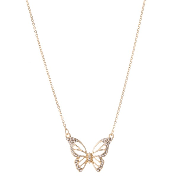 "Gold rhinestone butterfly pendant necklace.  - Pendant approximately 1""  - Approximately 18"" L overall - 2"" extender"