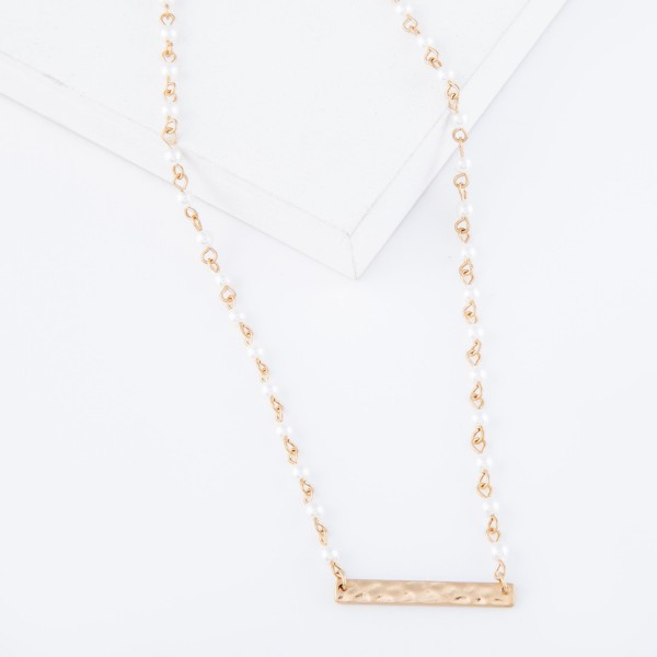 "Ivory Pearl Beaded Worn Gold Tampered Bar Necklace.  - Bar 1.25"" - Approximately 16"" L - 3"" Adjustable Extender"