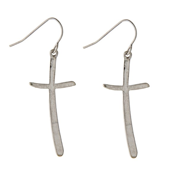 "1-3/4"" silver tone hook style cross earrings."