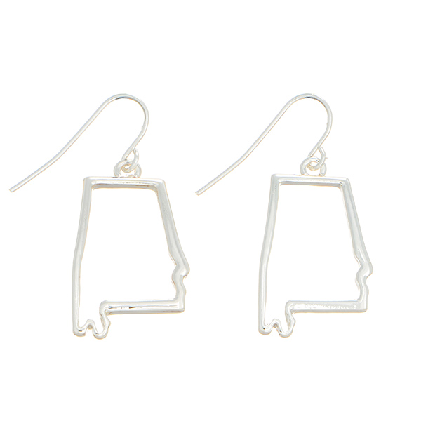 "Silver tone fishhook earrings featuring the state of Alabama cutout. Approximately 1"" in length."
