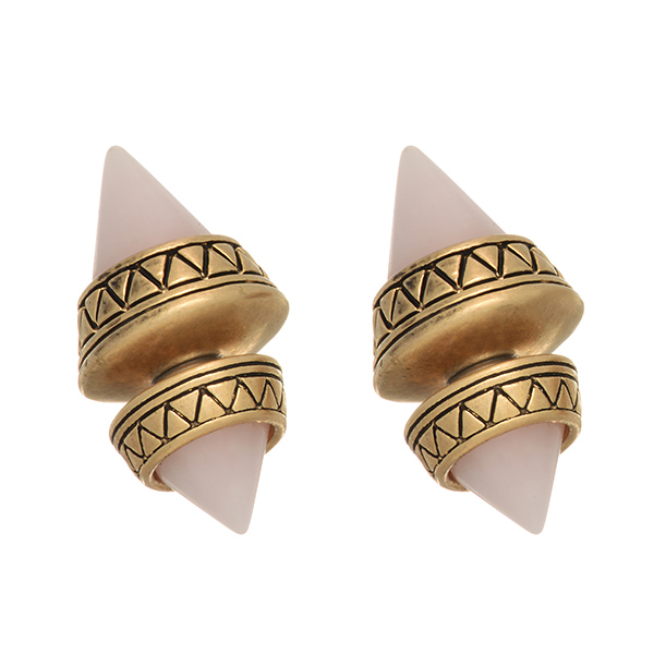 Burnished gold tone double sided earrings featuring two pale pink