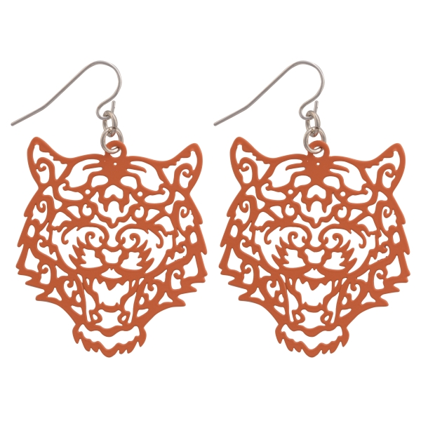 Wholesale orange fishhook earrings cutout tiger