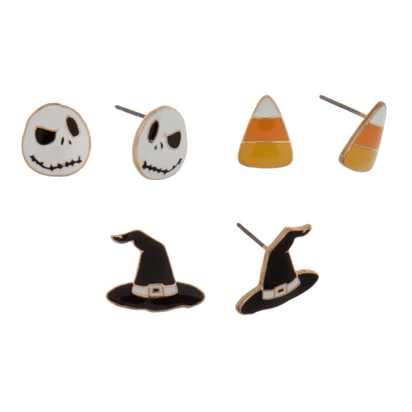 Gold tone Halloween three pair stud earring set with candy corn, ghosts, and witch hats.