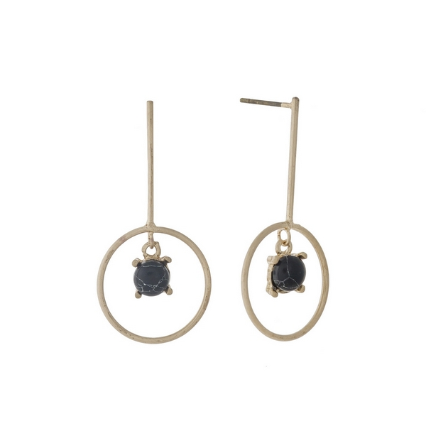 """Dainty post style earrings with a black stone. Approximately 1.25"""" in length."""