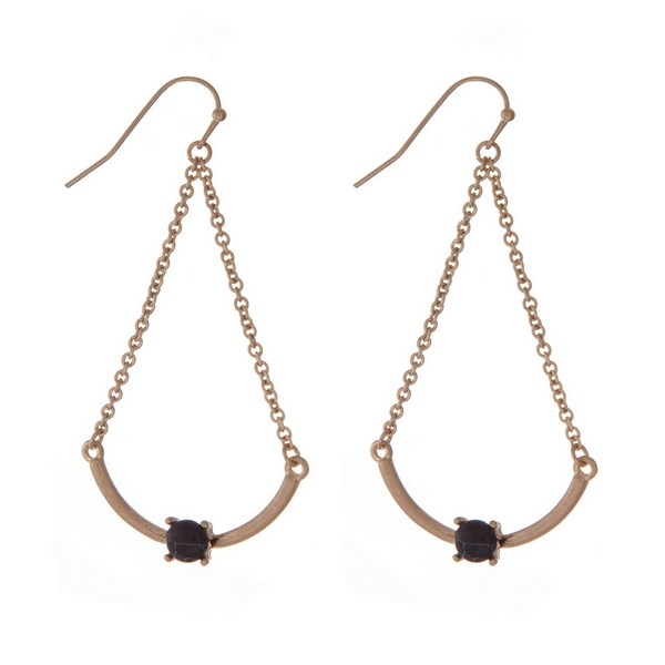 """Gold tone fishhook earrings with a scoop bar and a black bead. Approximately 2"""" in length."""