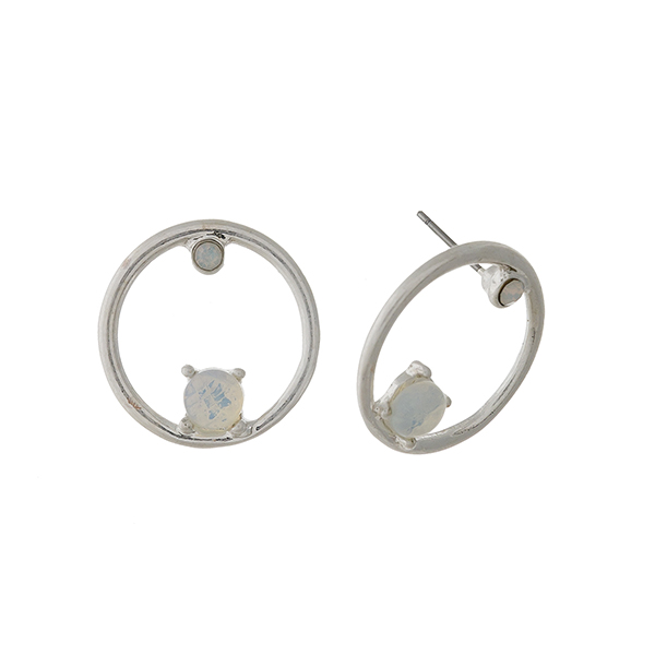"Silver tone circle stud earrings with opal stone and rhinestone accents. Approximately 1"" in length."
