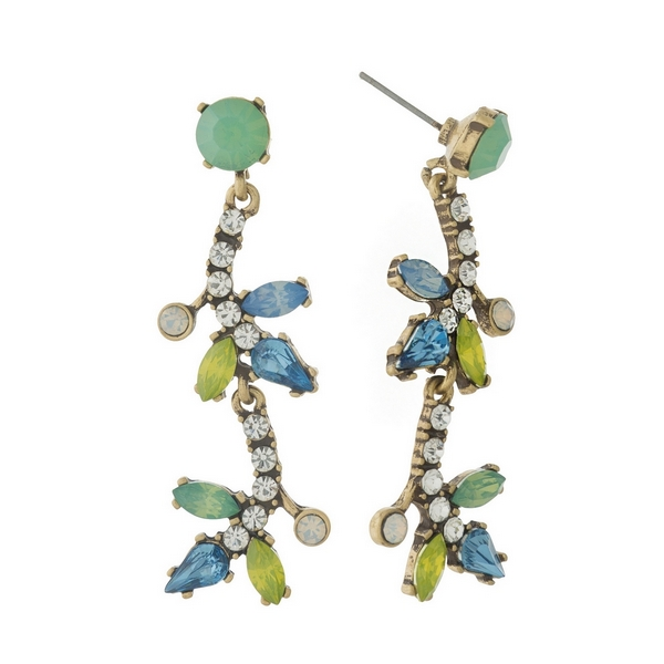 """Burnished gold tone, post style earrings with mint green, blue, and yellow rhinestones. Approximately 2"""" in length."""