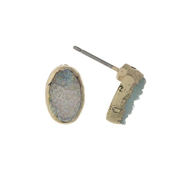"Gold tone, gray druzy stone stud earrings in an oval shape. Approximately 1/3"" in length."