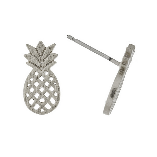 """Dainty silver tone stud earrings in the shape of a pineapple. Approximately 1/3"""" in length."""