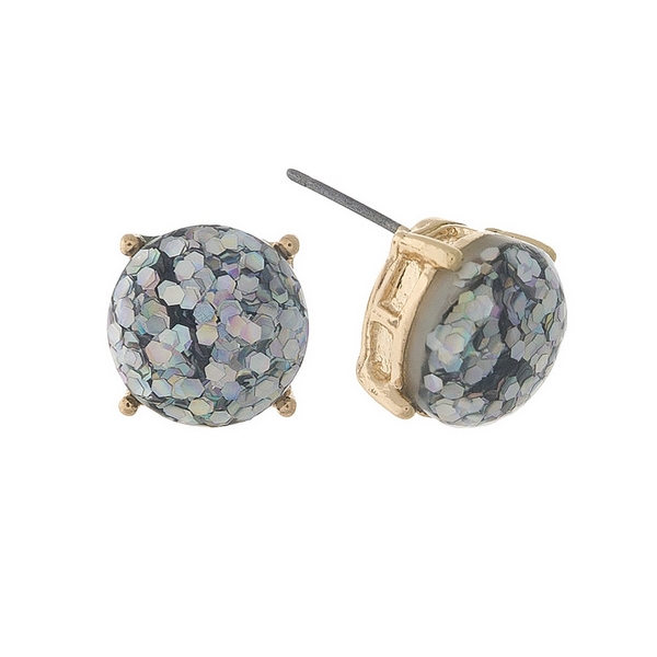 "Gold tone stud earrings with iridescent glitter. Approximately 1/3"" in diameter."