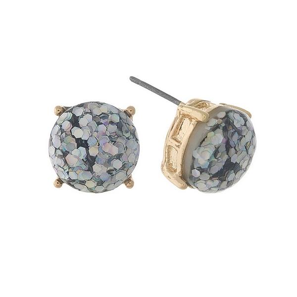 Wholesale gold stud earrings iridescent glitter diameter