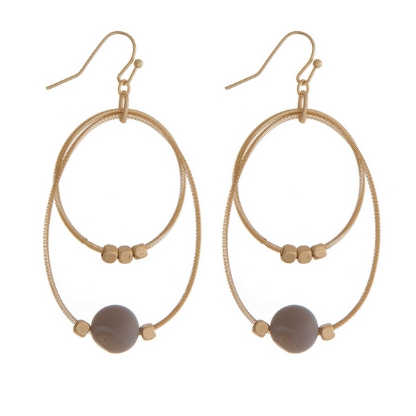 "Gold tone fishhook earrings with two open circles and gold tone and gray natural stone beads. Approximately 2"" in length."