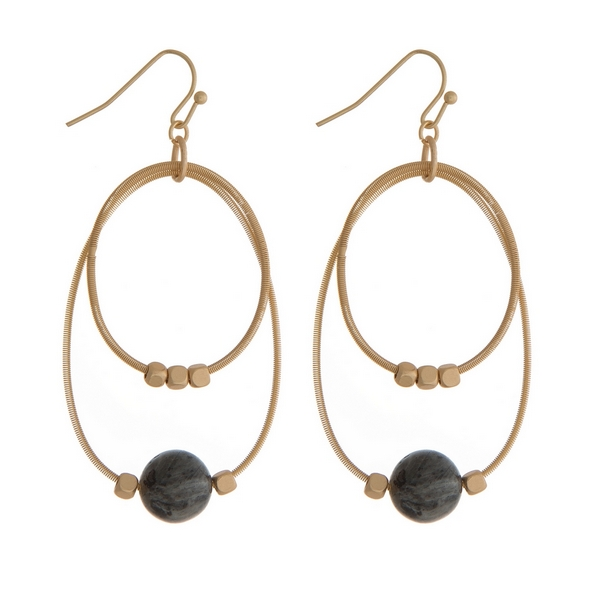 """Gold tone fishhook earrings with two open circles and gold tone and labradorite natural stone beads. Approximately 2"""" in length."""