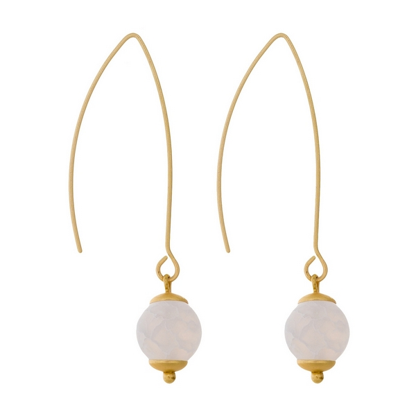 """Matte gold tone long hook earrings with a white natural stone bead. Approximately 2"""" in length."""