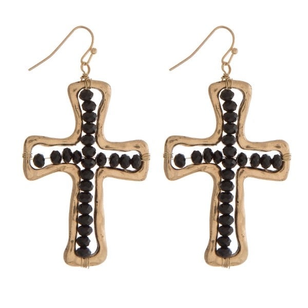 Wholesale gold fishhook earrings black beaded cross