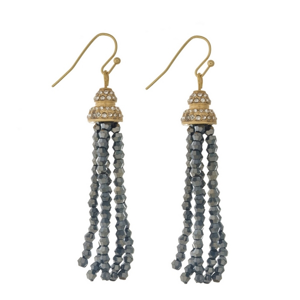 """Gold tone fishhook earrings featuring a hematite beaded tassel and clear rhinestones. Approximately 2.5"""" in length."""