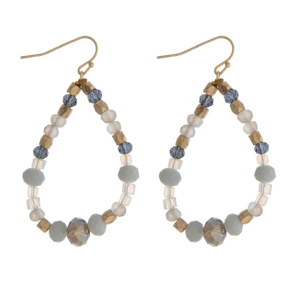 Wholesale gold fishhook earrings gray opal beads open teardrop
