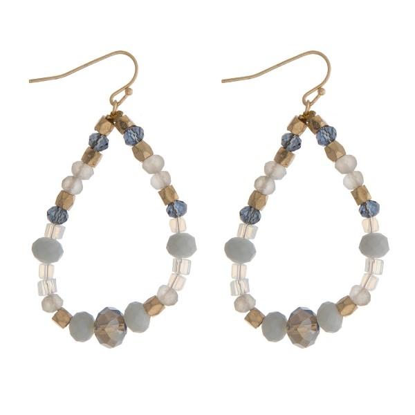Wholesale gold fishhook earrings gray opal beads open teardrop
