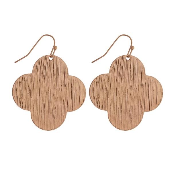 Wholesale rose gold fishhook earrings clover brushed