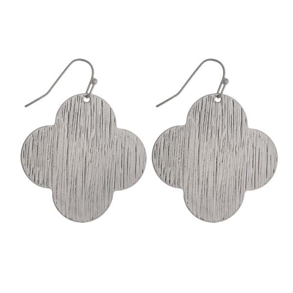 Wholesale silver fishhook earrings clover brushed