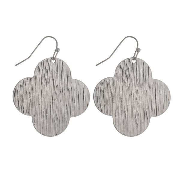 Wholesale silver fishhook earrings clover brushed