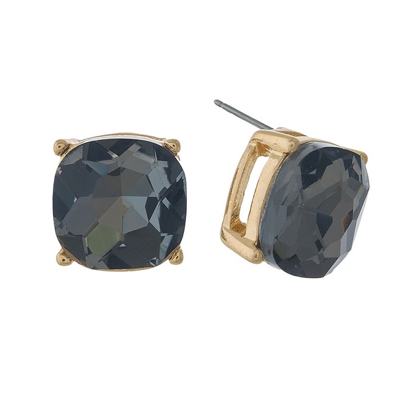 "Gold tone stud earrings with a gray rhinestone. Approximately 1/2"" in length."