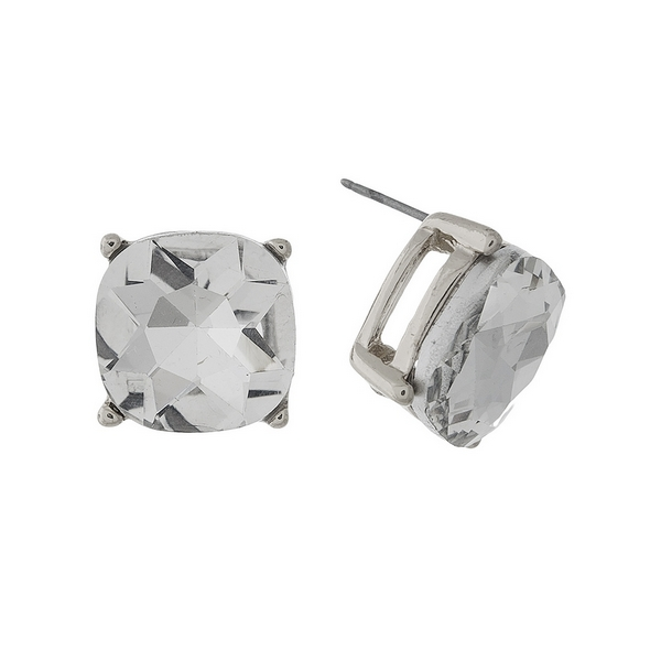 "Silver tone stud earrings with a clear rhinestone. Approximately 1/2"" in length."