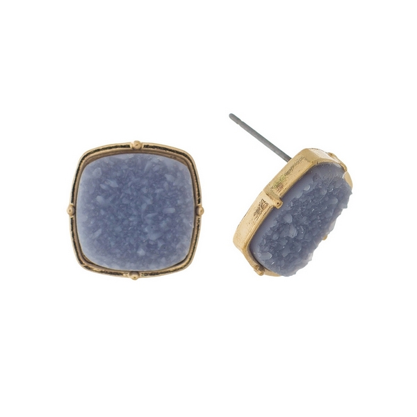 "Gold tone stud earrings with a gray, square shaped faux druzy stone. Approximately 1/2"" in diameter."