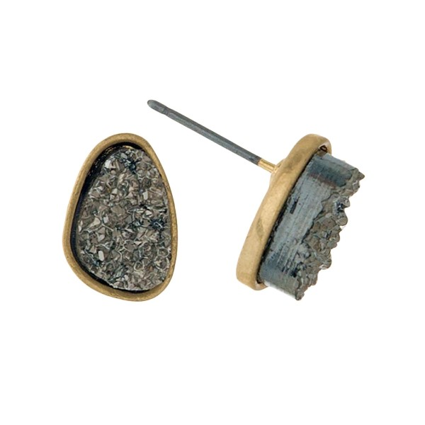 """Gold tone stud earrings with a hematite faux druzy stone. Approximately 1/3"""" in length."""