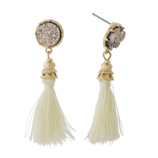 "Gold tone stud earrings with an ivory faux druzy stone and a thread tassel. Approximately 2"" in length."